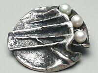 Monika & Burkhard Oly Vintage Silber Brosche m. 3 Perlen 835 Silber punz. /A624