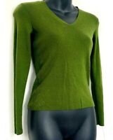 Ann Taylor Womens Sweater V Neck Green Knit Pullover 100% Merino Wool Size XS
