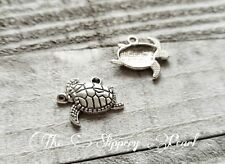 6 Sea Turtle Charms Antique Silver Tone Tortoise Pendants Nautical Sea Life