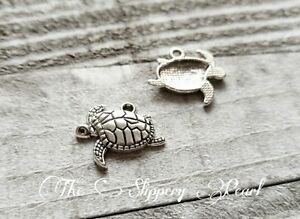 6 Sea Turtle Charms Antique Silver Tone Tortoise Pendants Nautical Sea Life
