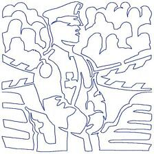 Continuous Line Police Blocks 12 Machine Embroidery Designs CD in 8 sizes