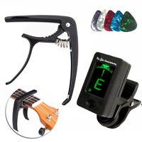 Digital Electronic Clip-On Guitar Tuner LCD Display & Black Guitar Capo Set UK