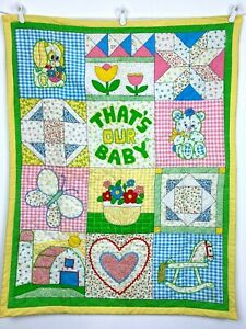 Vintage Handmade That's Our Baby Quilt Patchwork Squares Blanket Wall Hanging