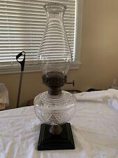 Antique Kerosene Oil Lamp Glass Cast Iron Eagle Burner