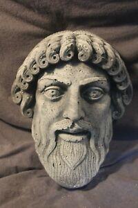 Old Concrete Greek Roman God Zeus Face Mask Garden Statue Outdoor Mansion Rare