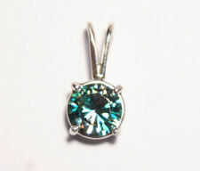 Solid Sterling Silver Pendant - 1.3ct Moissanite Teal AAA Stunning Pendant
