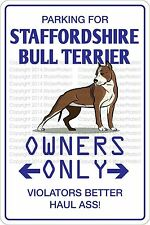"*Aluminum* Parking For Staffordshire Bull Terrier 8""x12"" Metal Novelty Sign Ns"