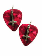 NEW DEEP RED GUITAR PICK w/ SATANIC RITUAL INVERTED CROSS CHARMS EVIL EARRINGS