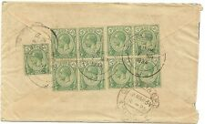Straits Settlements KGV 2c green x 9 on 1934 Airmail cover to India
