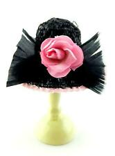 Dolls House Ladies Black Hat Feather Pink Edging & Rose Millinery Shop Accessory