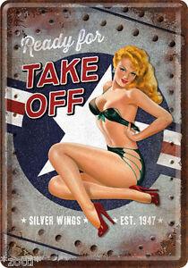 Nostalgic Art Carte Postale en Tôle / Métal 10x14 CM - Prêt Pour Take Off Silver