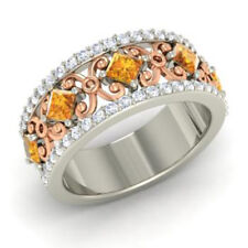 Round 14K Solid White Gold 1.40 Ct Natural Diamond Real Citrine Ring Size O P Q