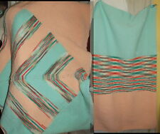 TWO matching Hand knit area rug and kitchen sink rug peach turquoise stripes