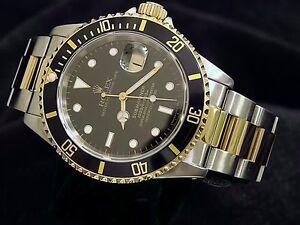 Rolex Mens Submariner Date 18k Yellow Gold Stainless Steel Watch Black Sub 16613