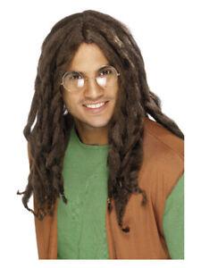 Dreadlock Wig Brown Hippie Bob Marley Jamaica Adult Men's Fancy Dress Costume