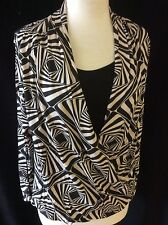 Laides Print Long Sleeve Blouse With Cami Vest Insert Size 10