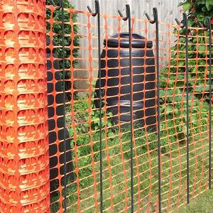 50m Orange Plastic Barrier Mesh Fence 5.5kg + 10 Steel Pins - Dog Chicken Event