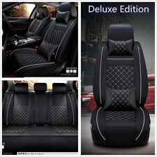 Deluxe Edition 5-Seats Car Seat Cover Cushion Full Set PU Leather with Pillows