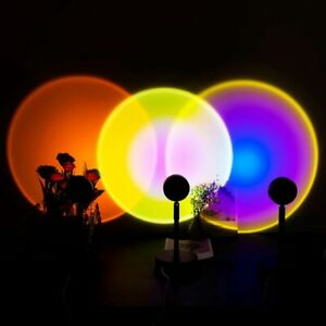 2021 USB Button Rainbow Sunset Projector Atmosphere Led Night Light Home Coffe