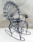 VINTAGE PEACOCK BLACK TWISTED WROUGHT IRON CHILDS ROCKER ROCKING CHAIR