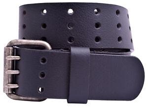 Full Grain Milled Buffalo Leather 3-Hole Jeans Belt - Black