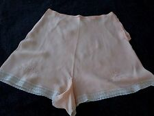 VINTAGE 30's PEACH SILK EMBROIDERED LINGERIE TAP PANTIES..  Hand Made