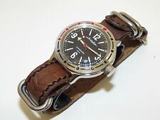 VOSTOK Russian military watch Amphibian. Genuine leather strap. AMPHIBIA 420660