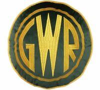 Cushion Great Western Railway Round Embroidered Yellow GRW Green 30cm Diameter