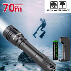 Underwater Flashlight Professional Diving Light LED Waterproof Dive Scuba Lamp