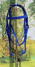 "Draft horse beta biothane riding bridle with 6"" O ring snaffle bit NAVY USA made"