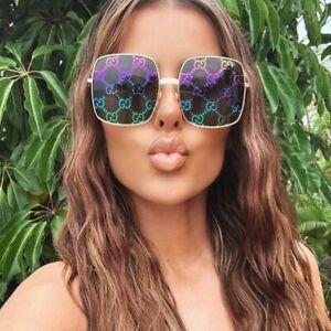 New Gucci GG0414S Gold Multicolor Square Women's Sunglasses