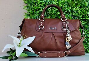 Coach 15447 Ashley brown Leather purse Convertible Satchel handbag shoulder LRG