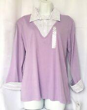 Falls Creek Womens Lavender 3/4 Sleeve Top w/Built In Shirt Collar & Cuffs Sz XL