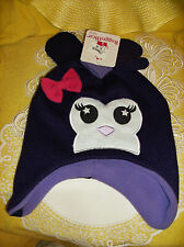 #9 Rugged Bear BABY Size 2T-4T Month Cap & Mittens Black Pink Purple NEW REG $20