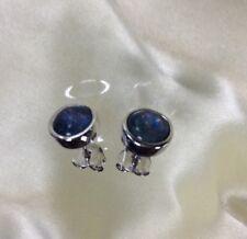 2 Ct, Boulder Opal Earrings, Stud, Bezel Set, Platinum Over Sterling Silver
