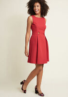 NEW ModCloth Red Work Dress So Sixties A-line in Scarlet Sz S Textured Knit Red