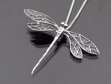 925 Sterling Silver Large Dragonfly Pendant Chain Necklace Jewellery