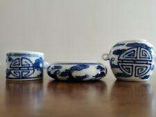 1set 3pcs Asian Bamboo Bird Cage Blue porcelain cups �花鸟食�