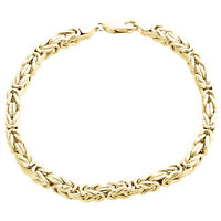 Mens Real 10K Yellow Gold Hollow Byzantine Box Link Weave Bracelet 4.85mm | 9""