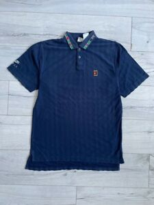 Vtg 1990's Nike FIT Andre Agassi Teniss Open Challenge Court Polo