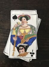 Vintage Hand Painted Porcelain Playing Cards Trinket Box
