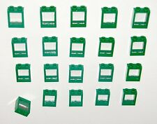 LEGO LOT OF 20 NEW GREEN 1 X 2 X 2 FLAT FRONT WINDOWS HOUSE TOWN CITY GLASS PART