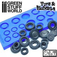 TYRES and HUBCAPS Textured SILICONE MOLD - for Resins - Impression cars 40K