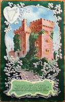 1912 St. Patrick's Day Postcard: Blarney Castle, Silver-Embossed Color Litho