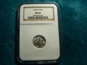 1963-D Roosevelt Dime 90% Silver NGC MS66 No Spotting Blemishes or Scratches