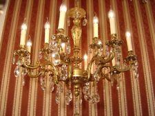 "CRYSTAL GOLD BRONZE CHANDELIER LAMP LIVING ROOM CEILING LAMP 12 LIGHT  Ø 32"""