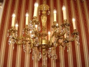CRYSTAL GOLD BRONZE CHANDELIER LAMP LIVING ROOM CEILING LAMP 12 LIGHT  Ø 32""