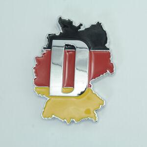 For Audi Porsche Germany DE Flag Black Chrome Metal Rear Emblem Badge Sticker