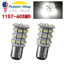 2PCS 1157 60-SMD 3528 White Backup Reverse Turn Signal Stop LED Light Bulbs