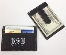 Personalized Engraved Leather Money Clip Black Groomsman Best Man Usher Gift